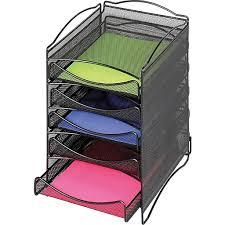 Safco Desk Organizers Safco Steel Desktop 5 Drawer Organizer Onyx Mesh 9432bl Staples