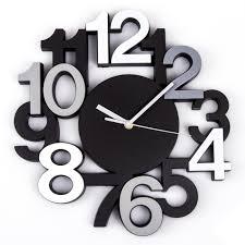 pendule murale cuisine horloge murale silencieuse chiffres 3d noir maison futée