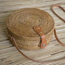 round wicker straw bag polkadee