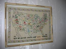 Vintage United States Map by Vintage Artisan Wall Art Picture Peti Point Hand Stiched Map Of