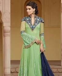 buy well formed pista green anarkali salwar kameez aprk8769 at