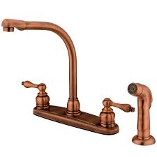 Copper Faucet Kitchen Kingston Brass Kb716alsp Victorian High Arch Kitchen Faucet With