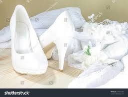 wedding shoes next white bridal wedding shoes next decorative stock photo 514011388