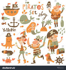 lovely pirate set cartoon style sweet stock vector 289791563