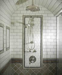 brushed nickel mirror bathroom mediterranean with backsplash tile