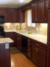 Light Cherry Kitchen Cabinets Cherry Kitchen Cabinets With Gray Wall And Quartz Countertops