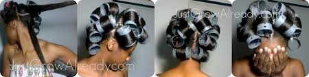roller set relaxed hair wash day ponytail roller set just grow already