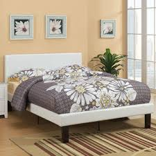 Leather Upholstered Bed Greenhome123 White Faux Leather Upholstered Platform Bed With
