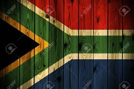 a south africa flag painted on a wooden wall stock photo picture