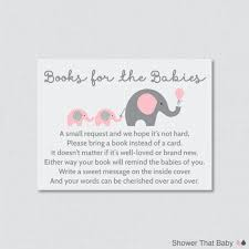 instead of a card bring a book elephant baby shower bring a book instead of a card