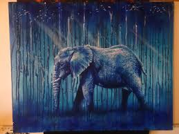elephant drip painting in acrylic paint on artboard