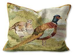 decorative pillows pheasants afield needlepoint pillow orvis