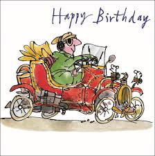 quentin classic car happy birthday greeting card cards
