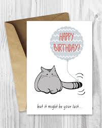 birthday card printable birthday card funny cat birthday