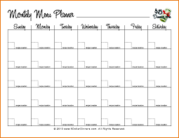 menu planners templates monthly menu template 76408550 png