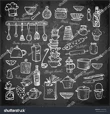 Bon Appetit Kitchen Collection Big Set Kitchen Utensils Handdrawn On Stock Vector 273696962