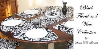 outdoor placemats for round table sweet pea linens black floral and vine collection of placemats for