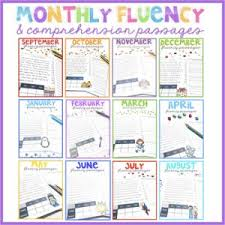 monthly fluency passages 2nd grade reading comprehension passages