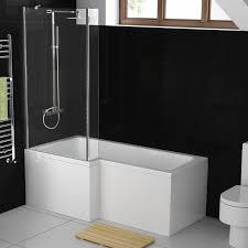 aquasoak 1700mm l shaped shower bath left hand