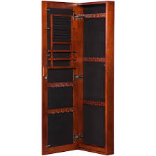 Dark Cherry Armoire Vista Wall Mount Jewelry Armoire Cherry Walmart Com