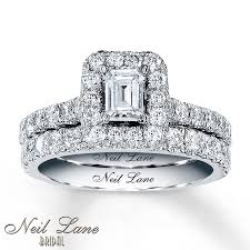 neil emerald cut engagement rings jared neil bridal set 1 7 8 ct tw diamonds 14k white gold