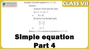 simple equation part 4 equations maths class 7 vii isce cbse ncert
