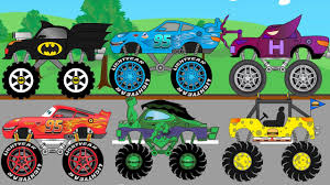 videos monster trucks new superheroes monster trucks get into parking building video