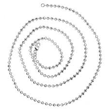 white gold bead necklace images Luxurman 14k solid gold 2mm diamond moon cut ball jpg