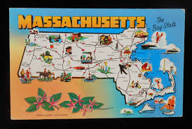 Ma Map 1960s Massachusetts State Map Icons Landmarks Flower Mayflower