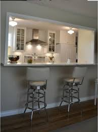 Galley Kitchen Ideas Half Wall Turned Counter Seating Wit Seating Reversed To The