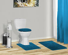 Navy Blue Bathroom Accessories by 3 Piece Solid Navy Blue Bathroom Set Bath Mat Contour Lid Cover