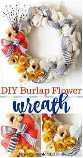 diy burlap flower wreath easy home decor craft idea burlap
