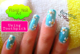 easy flower nail art using toothpick youtube