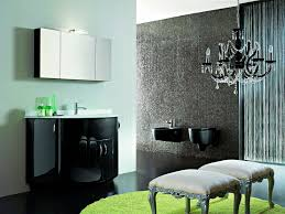 contemporary black gloss vanity with wall mounted mirrored cabinet