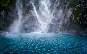 landscape waterfall mountain moss milford sound nature new