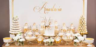 white party table decorations kara s party ideas elegant gold white baptism party kara s party