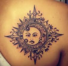 moon and sun tattoos on back shoulders photos pictures