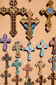 crucifix for sale orthodox crosses for sale in local shop stock illustration