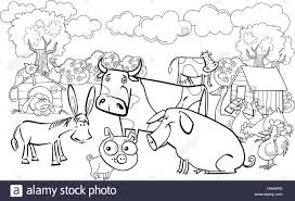 cartoon illustration of farm animals group for coloring book stock