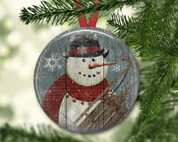 snowman ornaments etsy