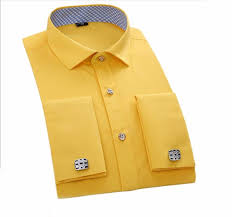 light yellow mens dress shirt formal or casual occasion bright color cotton light yellow high