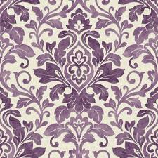 Bedroom Purple Wallpaper - plum purple cream 414602 mozart damask arthouse