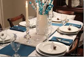 Dining Room Linens Christmas Tablescape Decor Ideas Setting For Four