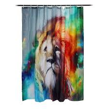colorful male lion waterproof mildew proof polyester shower