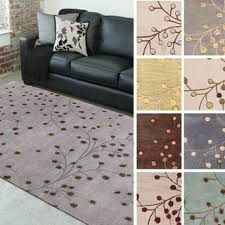 5 8 Area Rugs Tufted Branch Floral Wool Area Rug 7 6 X 9 6 7 6 X