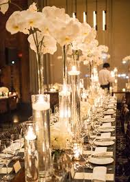 Tall Glass Table Seriously Stunning Wedding Centerpieces White Orchids Wedding