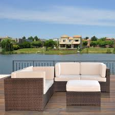 Outdoor Lifestyle Patio Furniture by Atlantic Contemporary Lifestyle Nice Brown 5 Piece Patio Sectional