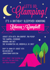 glamping invitations glam glamour camping birthday bachelorette