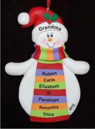 with striped scarf personalized ornaments