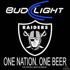 Raiders Flag Football Bud Light Oakland Raiders Neon Sign Nfl Teams Neon Light Bud